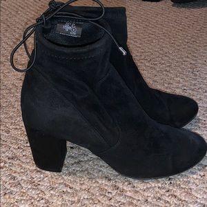 Adorable suede heeled booties